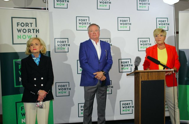 Elaine Agather, John Goff and Fort Worth Mayor Betsy Price announce new nonprofit.